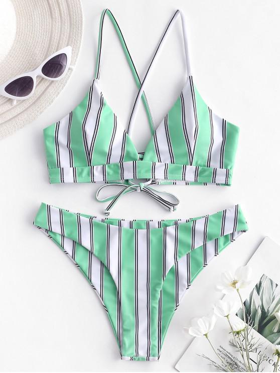 unique ZAFUL Criss Cross Striped Bikini Set - ALGAE GREEN M
