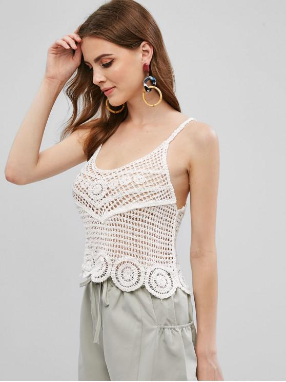 chic Beach Crochet Scalloped Cami Top - WHITE ONE SIZE