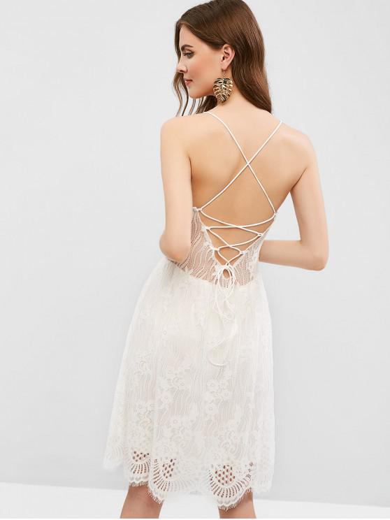 outfit Open Back Lace Up Cami Lace Dress - WHITE M