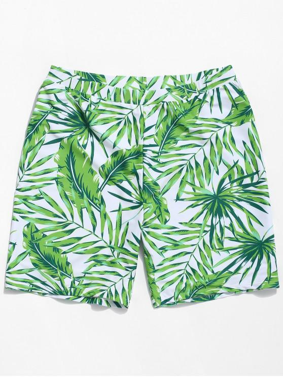 unique Plant Leaf Print Swimming Board Shorts - GREEN 2XL