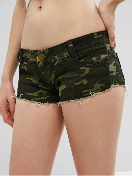 sale Frayed Hem Camouflage Hot Shorts - ACU CAMOUFLAGE L