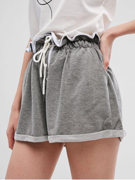 women's Drawstring Buttons Wide Leg Cuffed Shorts - GRAY M