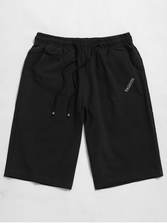 womens Solid Color Letter Embroidery Drawstring Shorts - BLACK M