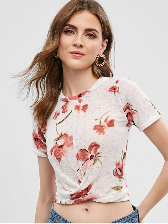 shop Floral Print Twisted Crop Tee - WHITE S