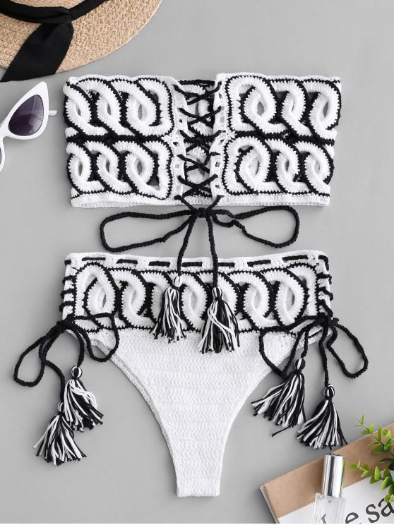 trendy Lace-up Cutout Crochet Bikini Set - WHITE L
