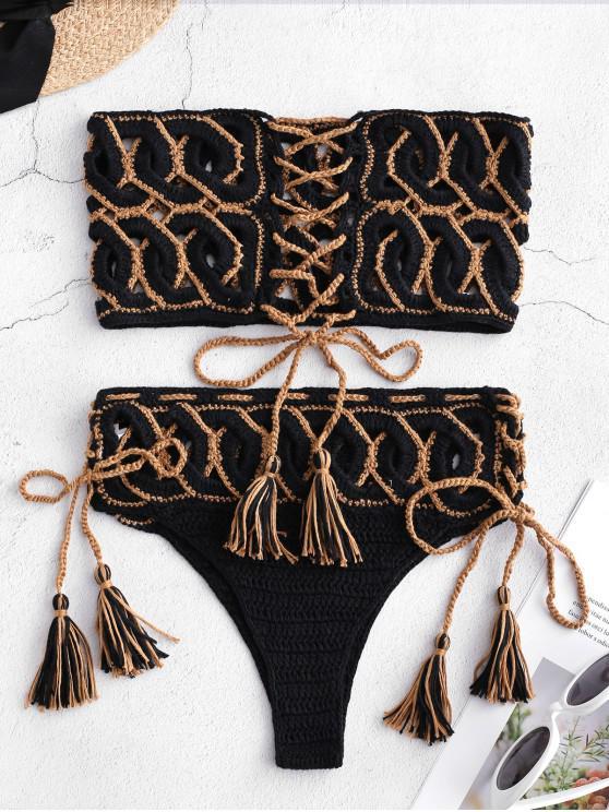 affordable Lace-up Cutout Crochet Bikini Set - BLACK S
