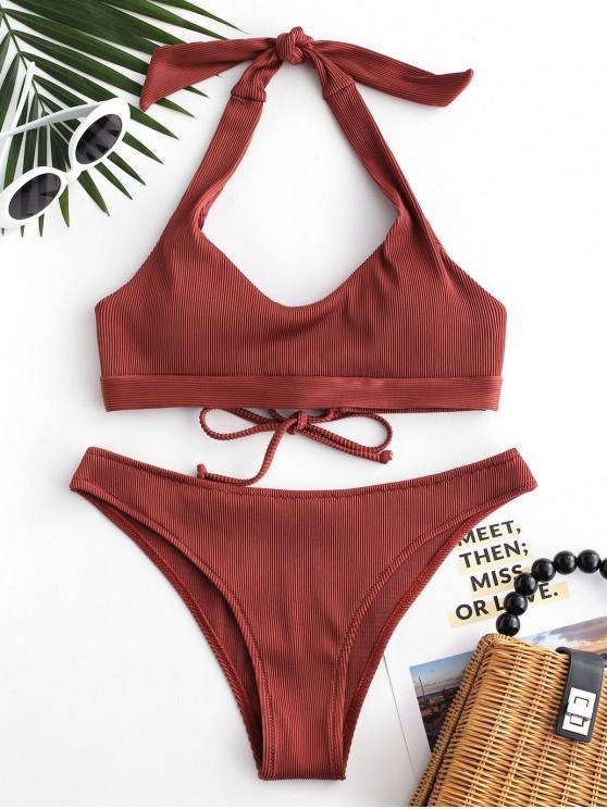 ladies ZAFUL Ribbed Lace-up Halter Bikini Set - CHESTNUT M