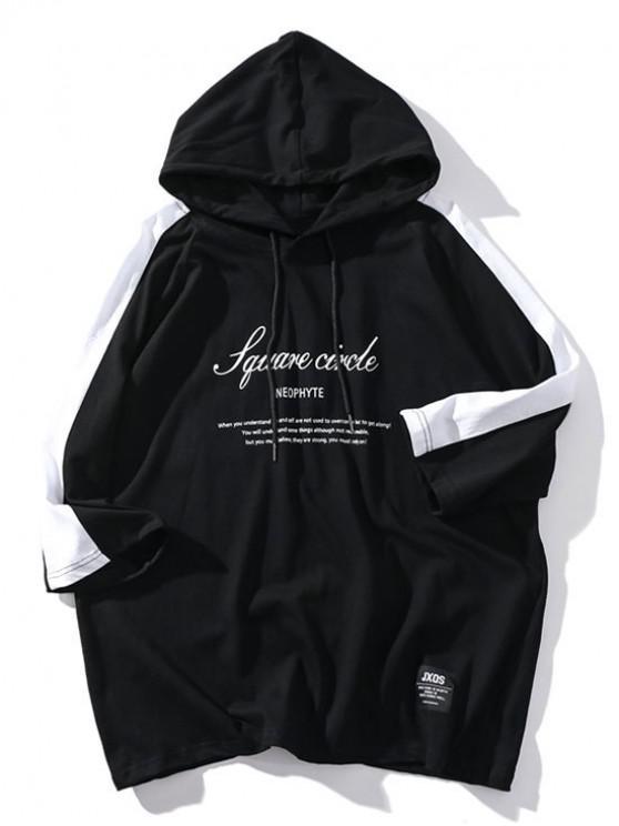 T-shirt à capuche avec empiècement en lettres raglan et lettres - Noir L