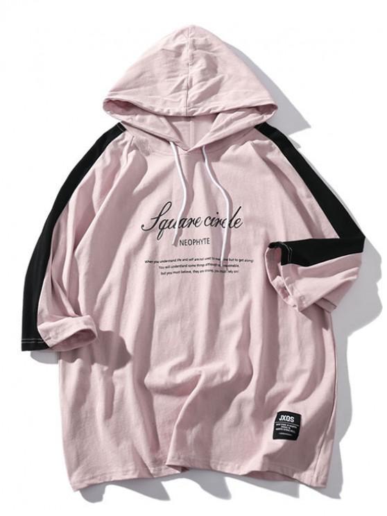 Camiseta con capucha y mangas raglán con estampado de letras - Rosa Khaki S