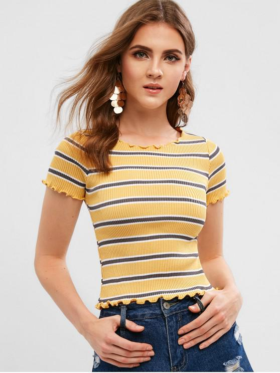 fancy Lettuce Trim Striped Ribbed Tee - GOLDENROD ONE SIZE
