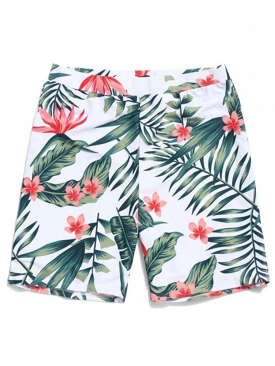 Shorts de playa con estampado de flores y hojas tropicales - Blanco L