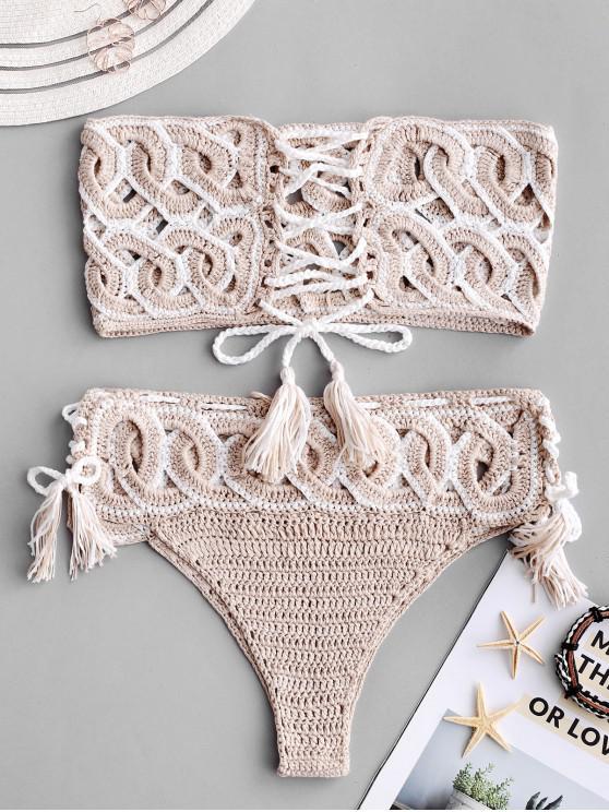 outfits Lace-up Cutout Crochet Bikini Set - TAN S