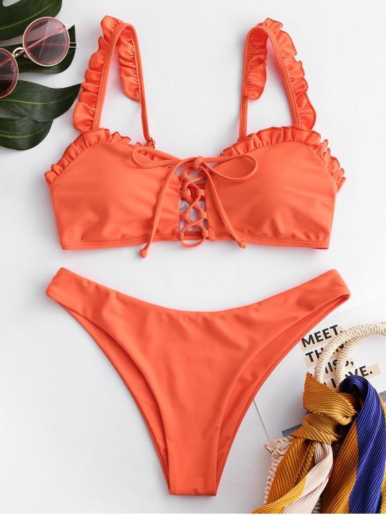 shop ZAFUL Frilled Lace-up Bikini Set - ORANGE M
