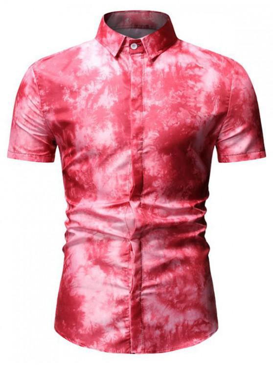 women's Tie Dye Short Sleeve Shirt - RED 3XL
