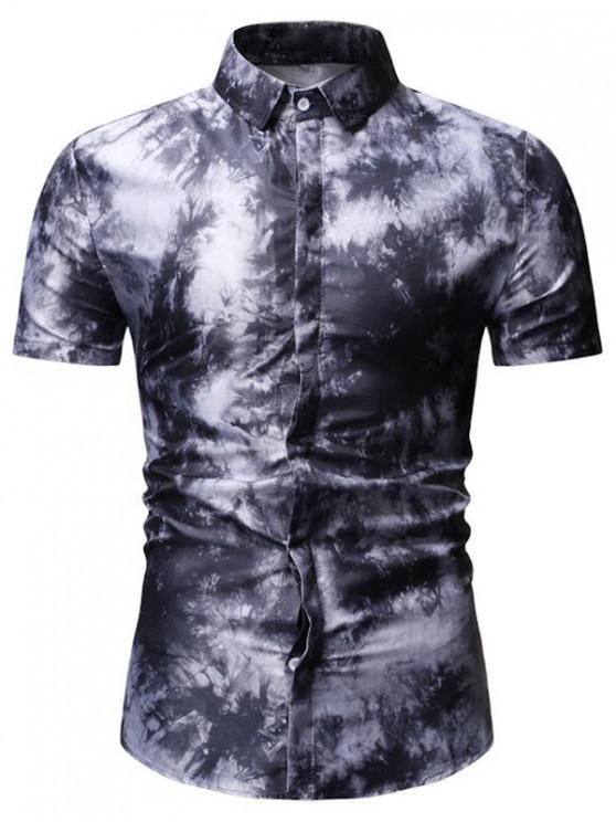 outfits Tie Dye Short Sleeve Shirt - BLACK 3XL