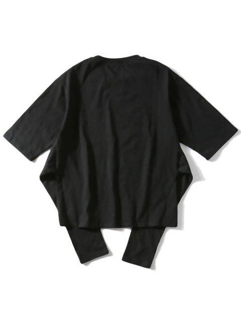 Camiseta de manga corta con estampado de letras - Negro L Mobile