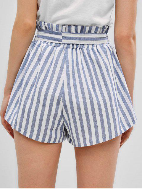 online ZAFUL Buttons Striped Belted Wide Leg Shorts - LIGHT BLUE S Mobile