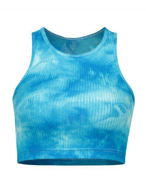 ZAFUL Racerback Tie Dye Crop camiseta de tirantes acanalada - Cielo Azul Oscuro S Mobile