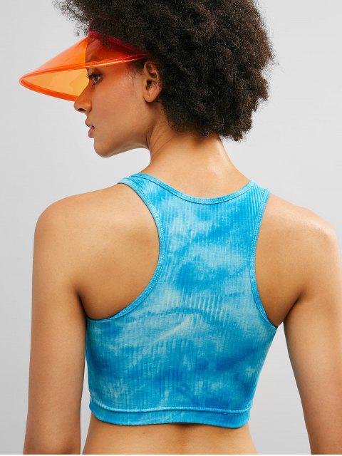ZAFUL Racerback Tie Dye Crop camiseta de tirantes acanalada - Cielo Azul Oscuro L Mobile