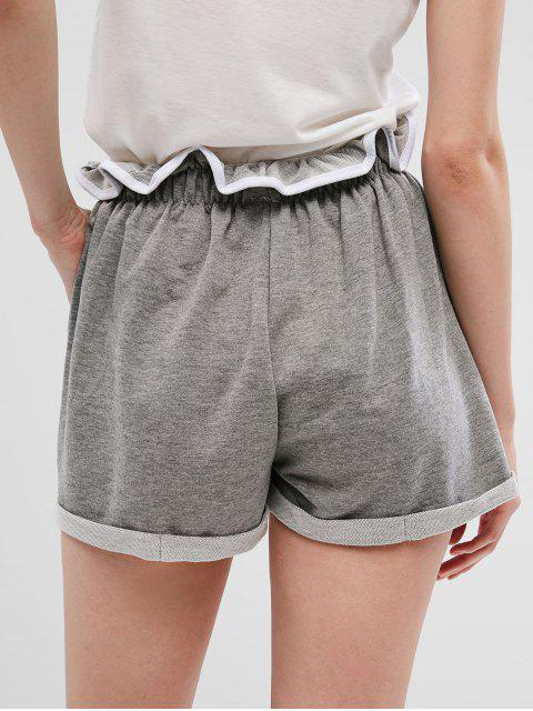 outfits Drawstring Buttons Wide Leg Cuffed Shorts - GRAY S Mobile