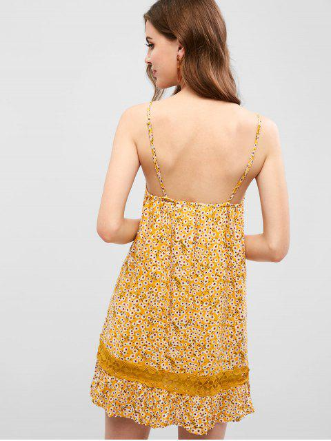 trendy Crochet Panel Floral Swing Cami Dress - YELLOW M Mobile