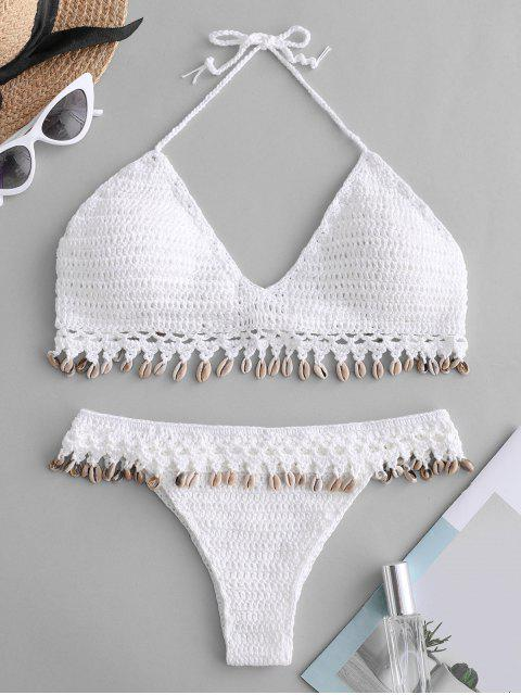 best Shells Crochet Bikini Set - WHITE M Mobile