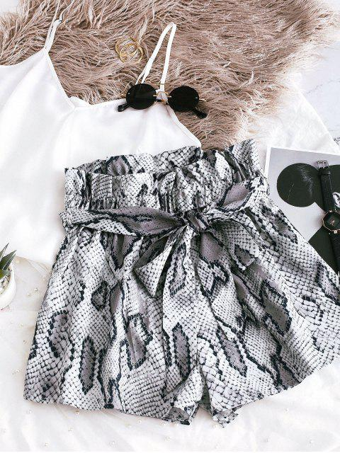 online ZAFUL Snakeskin Print Wide Leg Belted Shorts - GRAY S Mobile