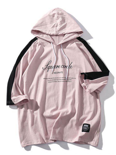 Camiseta con capucha y mangas raglán con estampado de letras - Rosa Khaki S Mobile