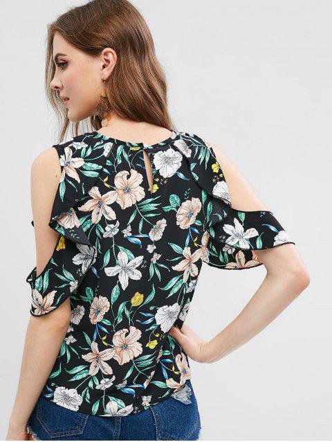 sale Floral Cold Shoulder Ruffle Blouse - BLACK L Mobile