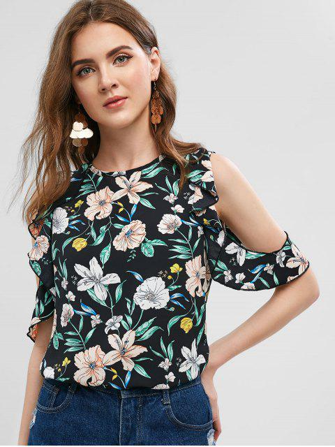 trendy Floral Cold Shoulder Ruffle Blouse - BLACK XL Mobile