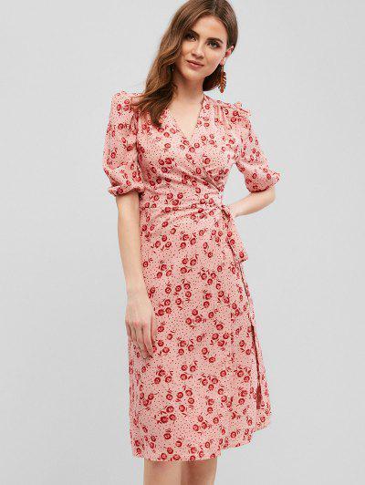 d51a5687e7e Robe Mi-longue Portefeuille à Fleurs - Rose Kaki M