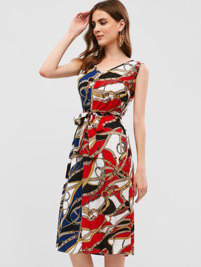 ba48101f14f ... Sleeveless Belted Printed Midi Dress - Chestnut Red S