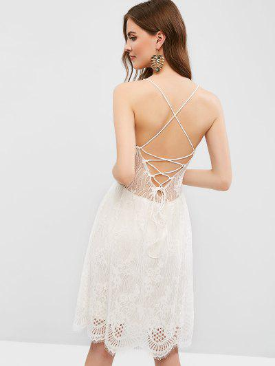 525b4ca7a Open Back Lace Up Cami Lace Dress - White L ...