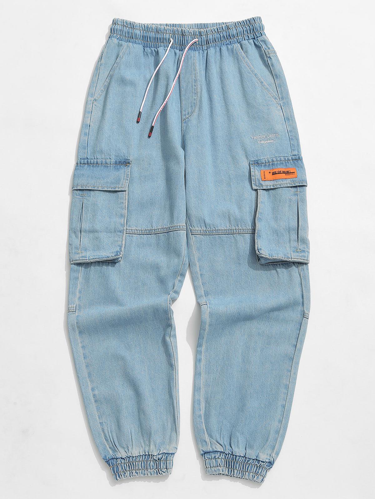 Applique Solid Color Jogger Denim Pants, Cornflower blue