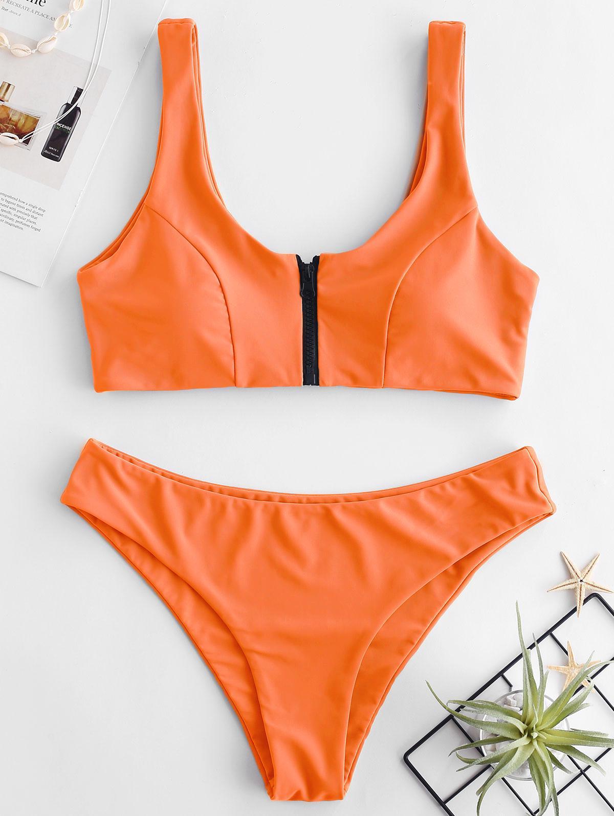 ZAFUL Zip Front Tank Bikini Set, Mango orange