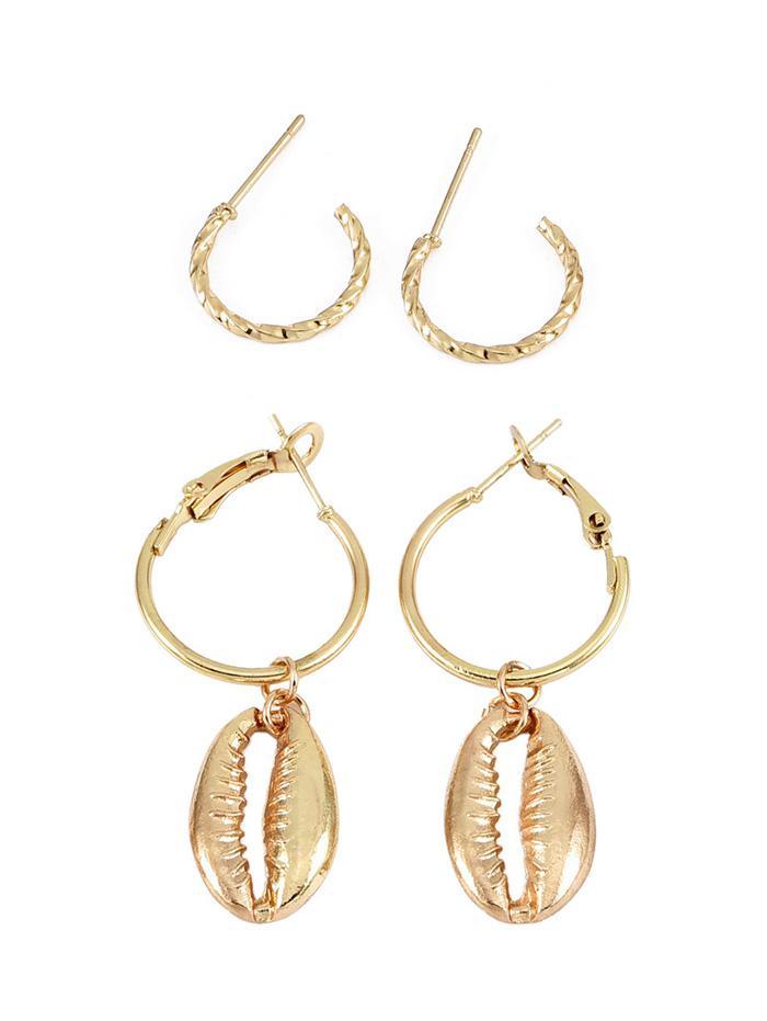 2Pairs Shell Shape Earrings Set