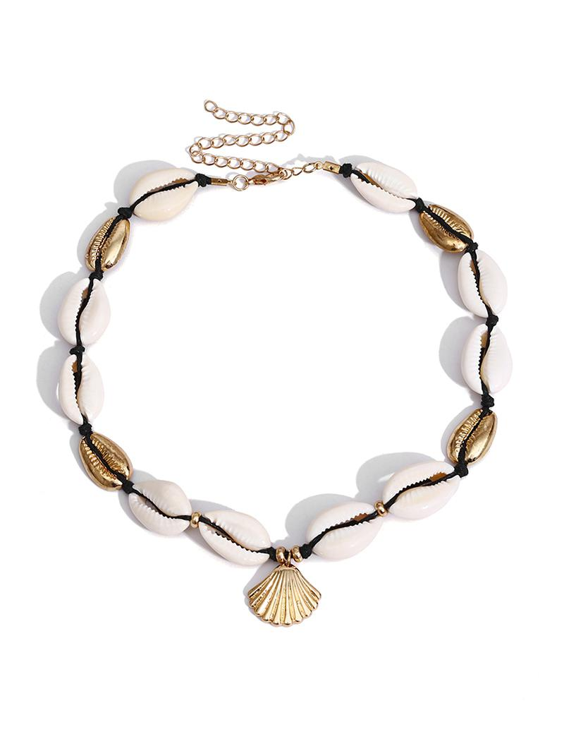 Shell Alloy Collarbone Necklace, Gold