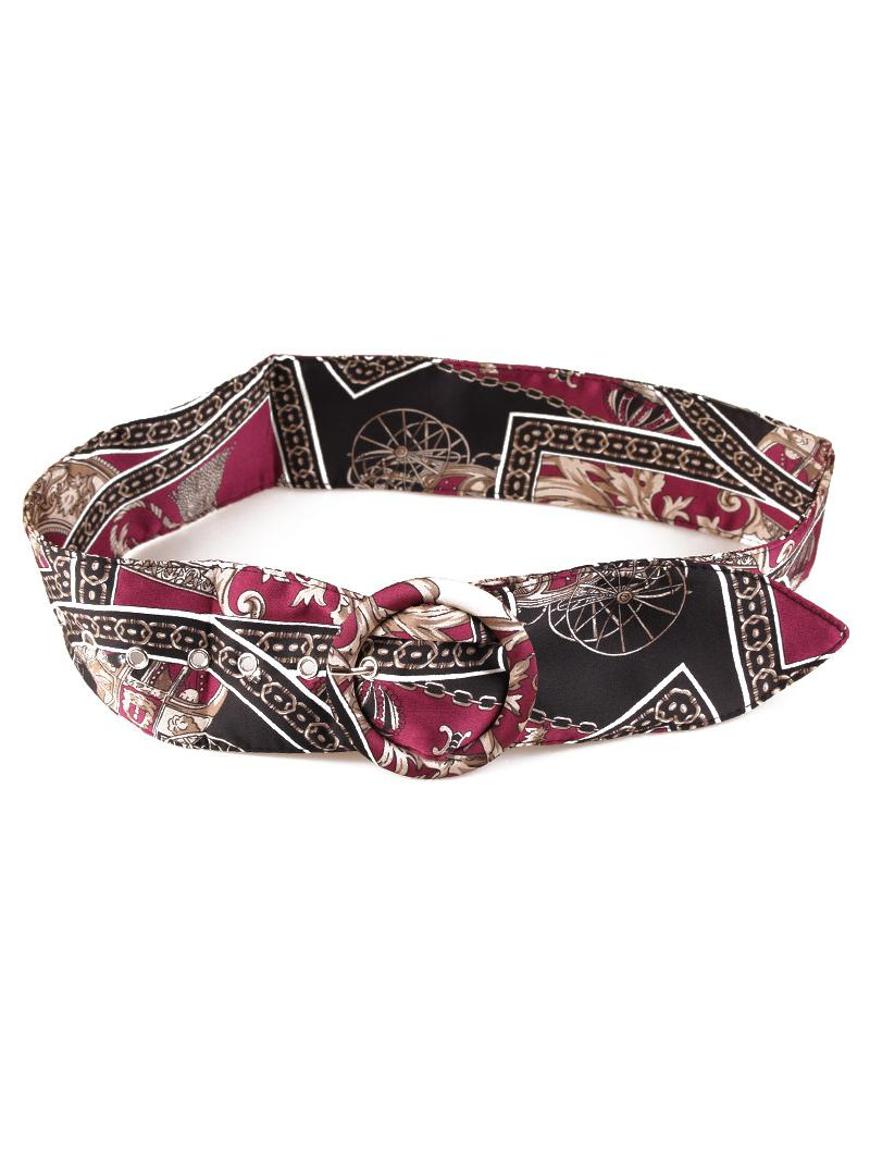 Cloth Tassel Printed Buckle Belt, Multi-a