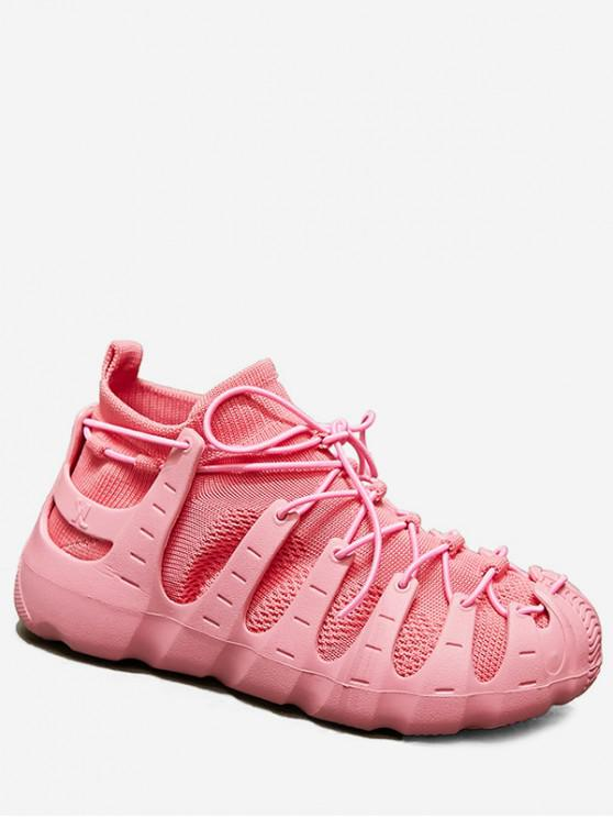 women's Lace-up Breathable Design Sneakers - PINK EU 36