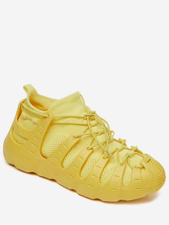 fancy Lace-up Breathable Design Sneakers - YELLOW EU 36