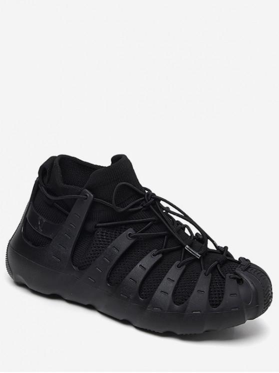 buy Lace-up Breathable Design Sneakers - BLACK EU 39