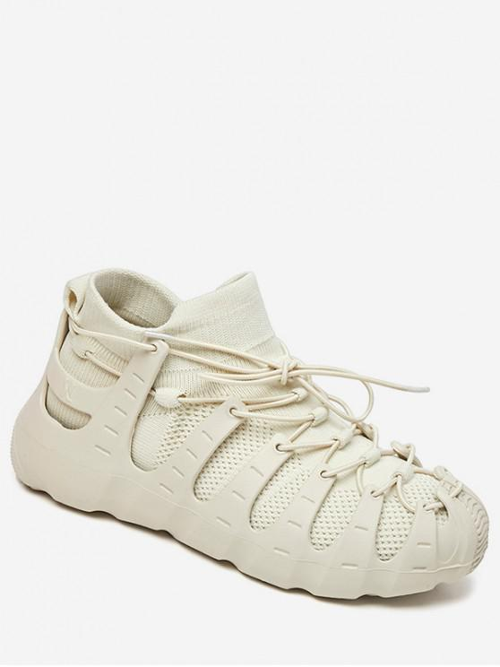 shop Lace-up Breathable Design Sneakers - BEIGE EU 37