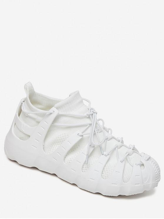 buy Lace-up Breathable Design Sneakers - WHITE EU 40
