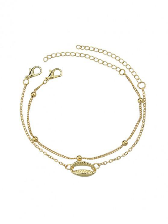 shop 2 Piece Shell Chain Bracelet Set - GOLD