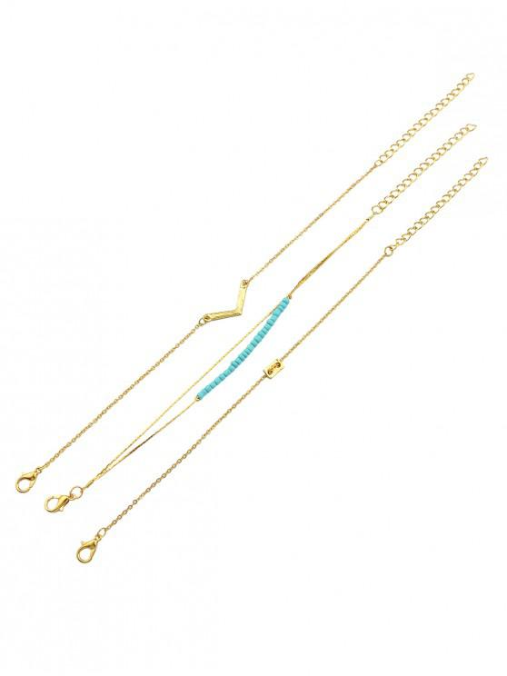 womens Minimalist V Chain Bracelet Set - GOLD