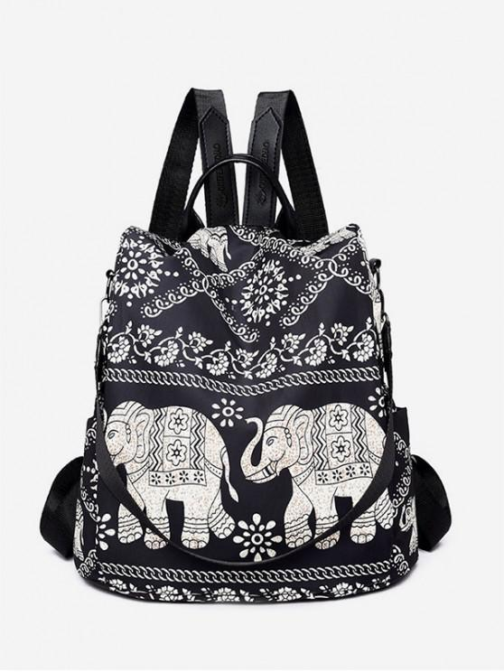 outfits Bohemian Elephant Nylon Backpack - BLACK