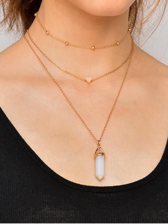 ladies 3Pcs Heart Faux Crystal Necklace Set - GOLD