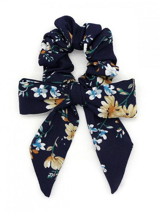 online Flower Print Bow Elastic Hair Band Scrunchies - CADETBLUE