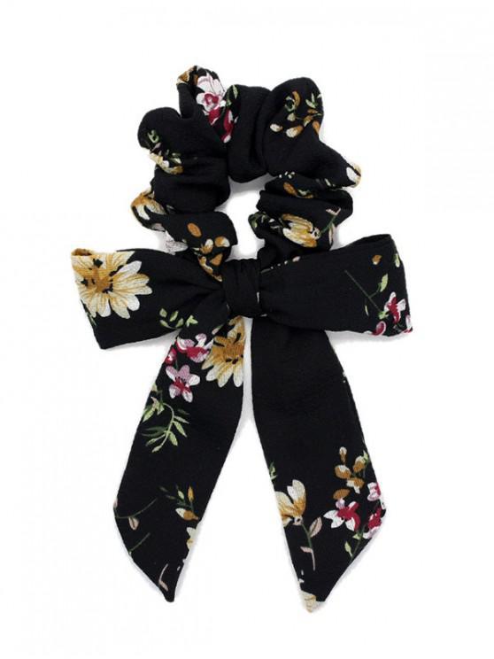 shop Flower Print Bow Elastic Hair Band Scrunchies - BLACK