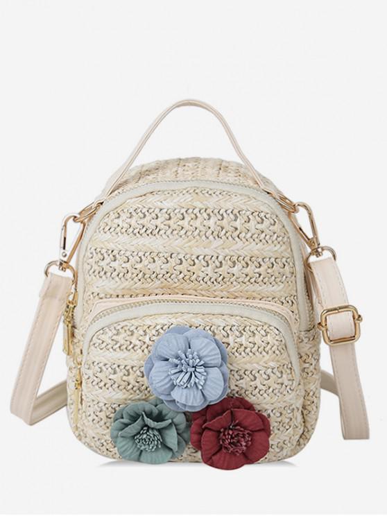 chic Flower Decor Straw Crossbody Bag - WARM WHITE
